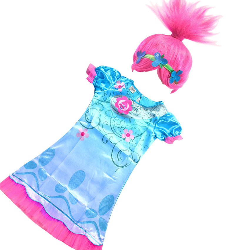 2018 New Summer Carnival Costume Trolls Dress For Kids Poppy Lace Dress Baby Girls Moana clothes Children Vaiana Party Dress 2017 summer new children clothes girls beautiful lace dress quality white baby girls dress teenager kids dress for age 2 12