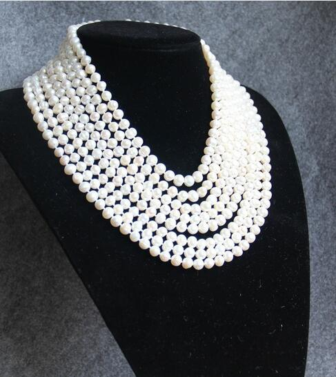 Nouveau 7-8mm collier Long blanc multicolore collier de perles d'eau douce femmes Choker breloque collier fille chaîne fête