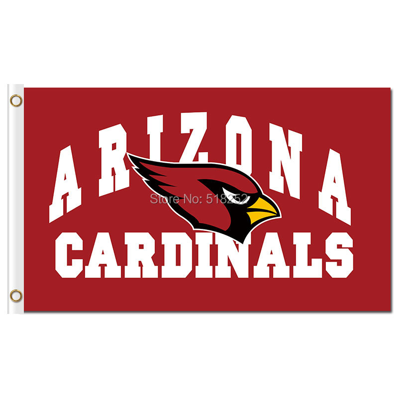 Arizona Cardinals with logo Flag 3x5 FT 150X90CM NFL Banner 100D Polyester Custom flag grommets 6038, free shipping