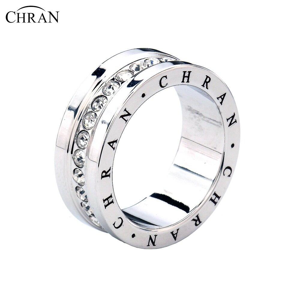 Chran мода ювелирные изделия Группы Кристалл обещал Кольца для Для женщин Посеребренная CZ Обручение обручальное Кольца