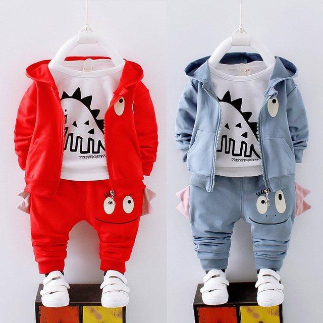 男の子春の秋の服セット子供服綿カジュアルコート + トップス + パンツ 3 本ベベ男の子幼児スーツ