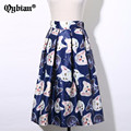 Casual Cute cat printing Flared Tutu Circle Pleated Midi Skater Skirts High Waist Fall Winter Women Saias