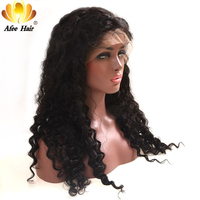 AliAfee Hair 150% Density Lace Front Human Hair Wigs Brazilian Curl Lace Front Wig Natural Color Remy Deep Wave Curl Wig