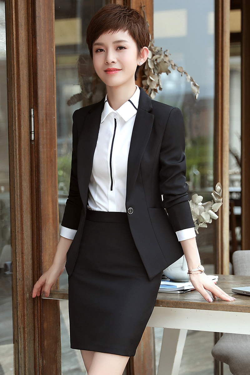 2020 Autumn and Winter Professional Women's Suit Long Sleeve Slim Small Interview Hotel Workwear Three Suits - 6