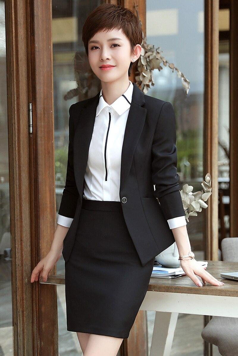 2020 automne et hiver professionnel femmes costume à manches longues mince petit entretien hôtel vêtements de travail trois costumes - 6