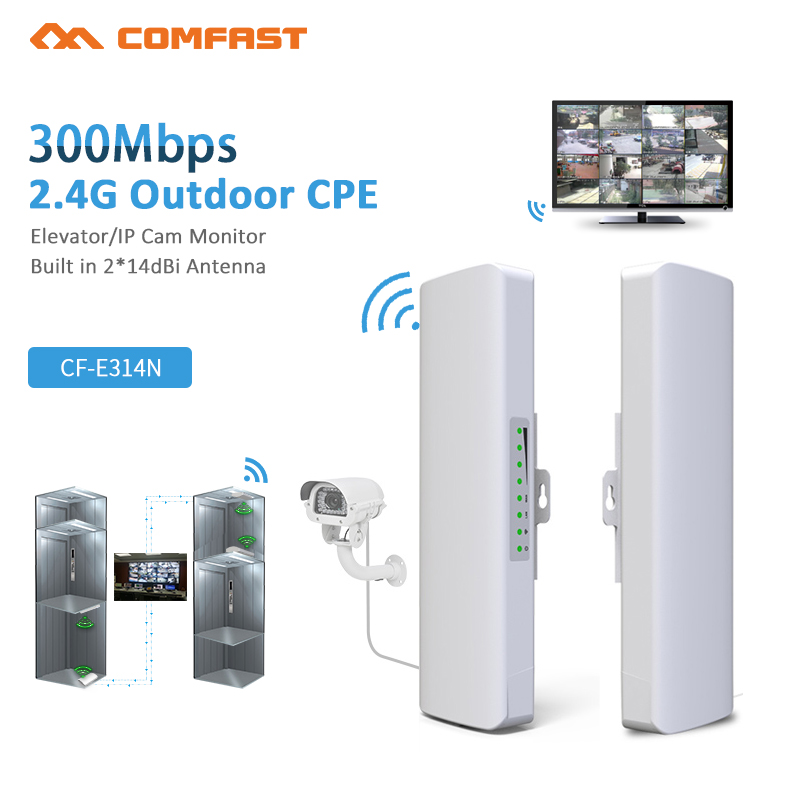 2Pcs COMFAST Long Range 300Mbps 5.8Ghz Outdoor Mini Wireless AP Bridge WIFI CPE Access Point 2*14dBi WI-FI Antenna Nanostation new 150mbps in wall wifi access point wireless socket ap for hotel wi fi project support ac management