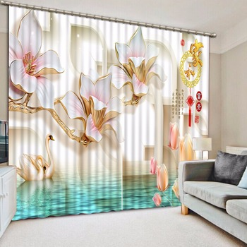 Home Decoration 3D Window Curtain flower stereoscopic Blackout Drapes Curtain 3D Curtains For Hotel Office Bedroom Living room