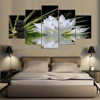 DIY Diamond Painting 5 Pieces White Lotus Flower Water Cobblestone 3D Square round Diamond Embroidery Full Kit Diamond Picture