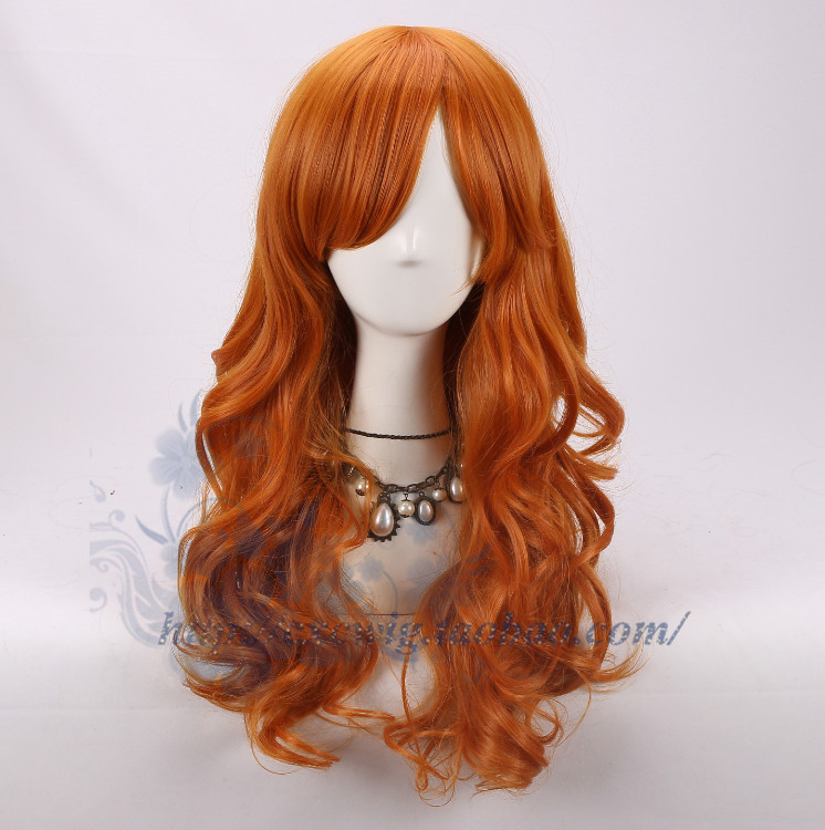 One Piece Nami Orange Wig Long Body Wave Curly Wig Hair Cosplay Role Play Adult Synthetic Hair