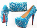 2017 African woman matching italian shoe and bag set for wedding GF14 Sky Blue color for Italian design shoes and bag set.