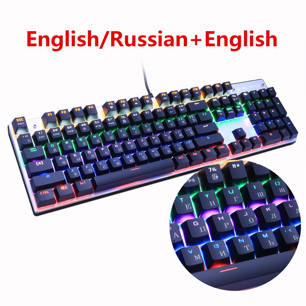 Metoo Gaming Teclado mecánico 87/104 Anti-ghosting luminoso Azul Rojo Negro interruptor retroiluminado LED con cable teclado ruso pegatina