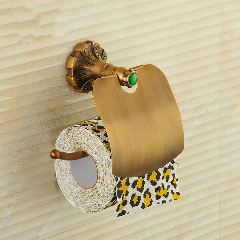 Antique Copper Toilet Paper Holder Bathroom Green Stone Brushed Rack Roll Creative Waterproof