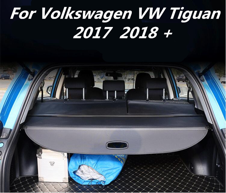 JIOYNG Car Rear Trunk Security Shield Shade Cargo Cover For 17 18 Volkswagen VW Tiguan 2017 2018 (Black, Beige) fit for volkswagen vw tiguan rear trunk scuff plate stainless steel 2010 2011 2012 2013 tiguan car styling auto accessories