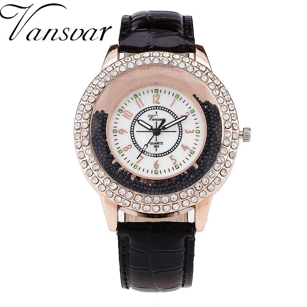 b4ff42b87535 Vansvar marca de lujo rhinestone pu cuero reloj mujeres moda reloj de  cuarzo reloj Relogio feminino 189