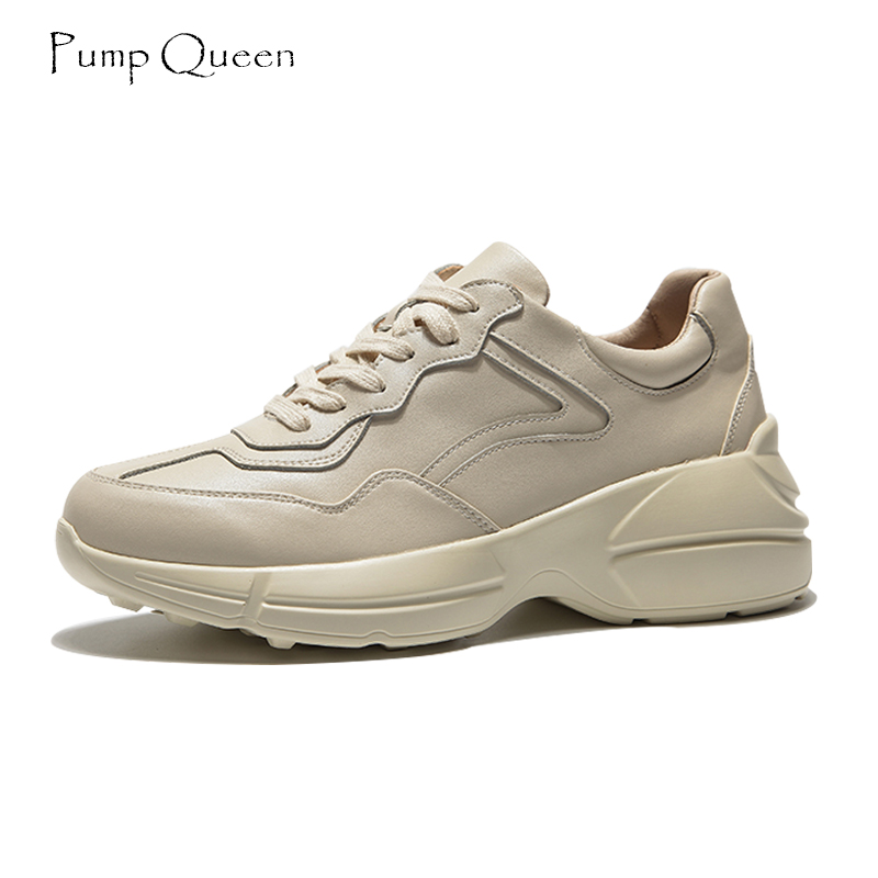 PumpQueen Fashion Beige Chunky Sneakers Women Shoes Woman 2018 Spring Autumn Split Leather Casual Flats Feminino Zapatos Size 43