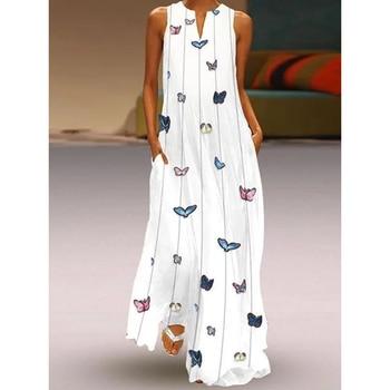 88dea083d5 Mariposa impresión maxi vestido de las mujeres sin mangas vestidos largos  2019 verano vestido con bolsillo vestido blanco elegante traje de mujer