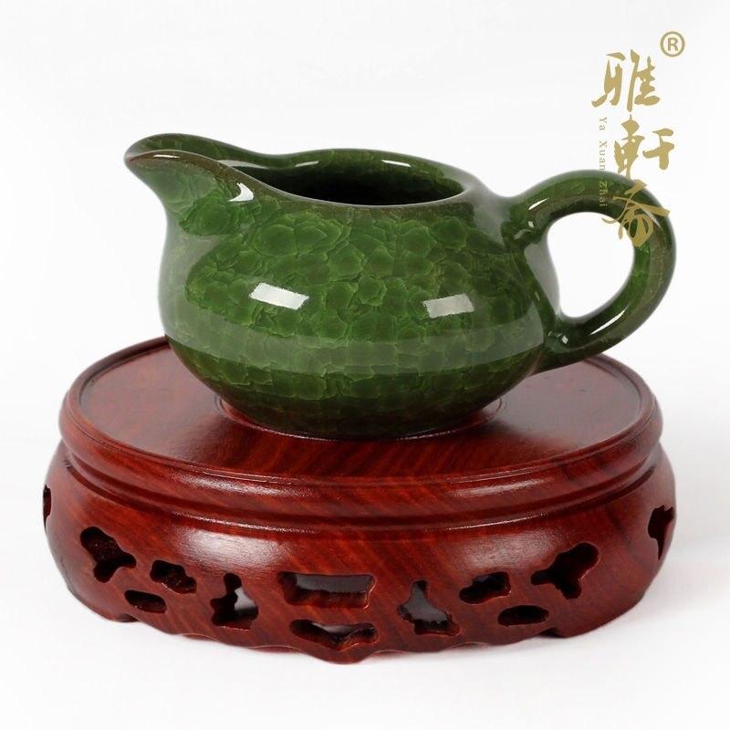Rosewood Crafts Wood Base Vase Antique Jade Teapot Cup Red