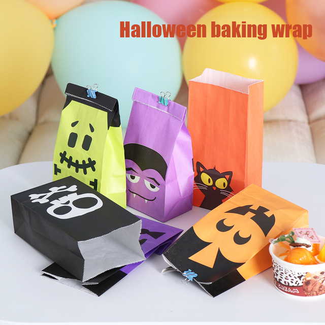 6/12pcs Halloween Snacks Bags Wrapping Supplies Kraft Paper Bag Sweets and Candy Bar Packing Pouches for Kids Festival