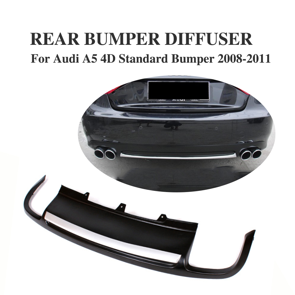 PU Black Rear lip <font><b>Diffuser</b></font> Spoiler Fit For <font><b>Audi</b></font> <font><b>A5</b></font> <font><b>Sportback</b></font> 4 door Standard 2008-2011 Non-Sline image