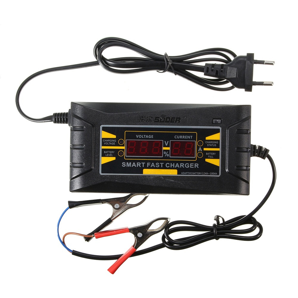 12V 6A Smart Fast Lead-acid Battery Charger for Car Motorcycle LCD Display MT