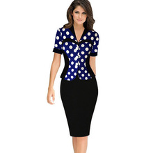 2018 Women Work Wear,vestidos de fiesta Patchwork Elegant Bodycon Pencil Casual Office Dress,Business Dress cheap clothes china