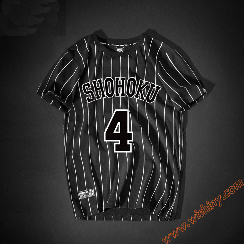 Fashion Slam Dunk Shirt Shohoku No.4 Akagi Takenori T-shirt Men Boys 100% Cotton Tops Black Striped Tee Shirts