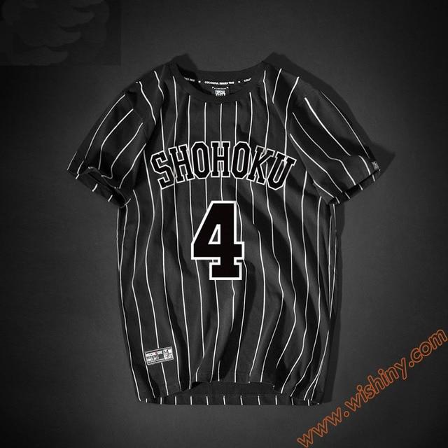 3a7a82915 Fashion Slam Dunk Shirt Shohoku No.4 Akagi Takenori T-shirt Men Boys 100%  Cotton Tops Black Striped Tee Shirts