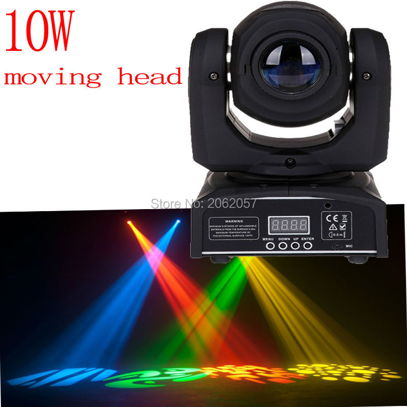 high quality mini 10W led spot moving head 7 gobo stage light disco dj  DMX512 rgbw stage effect  projector Stereotypes packaged 2pcs lot 10w spot moving head light dmx effect stage light disco dj lighting 10w led patterns light for ktv bar club design lamp