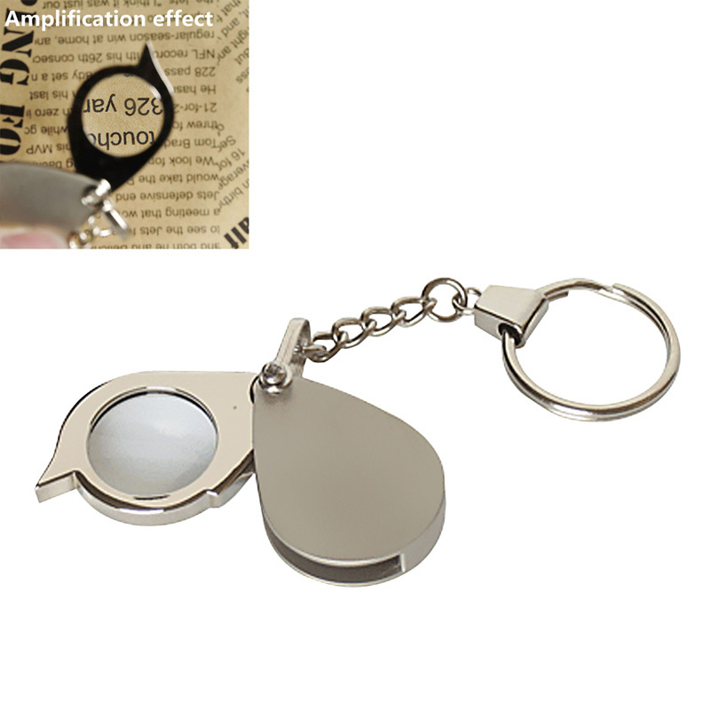 8X Folding Key Ring Magnifier Glass with Key Chain Daily Magnifying Tool Portable Pocket Daily Magnifying Glass lupa