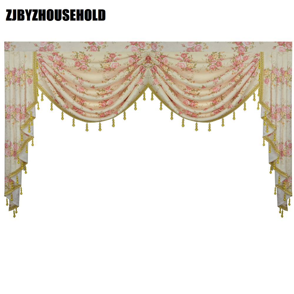 Pink Flower Pastoral Curtains for Living Room Valance Swag Lambrequin for Dining Room Curtains for Bedroom