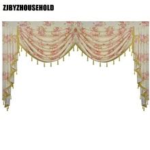 ピンクの花牧歌的なリビングルームのためのバランス盗品 Lambrequin ダイニングルームのカーテン寝室の窓盗品王室