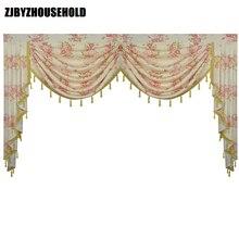 สีชมพูดอกไม้ Pastoral ผ้าม่านสำหรับห้องนั่งเล่น Valance Swag Lambrequin สำหรับห้องรับประทานอาหารผ้าม่านสำหรับห้องนอนหน้าต่าง Swag Royal