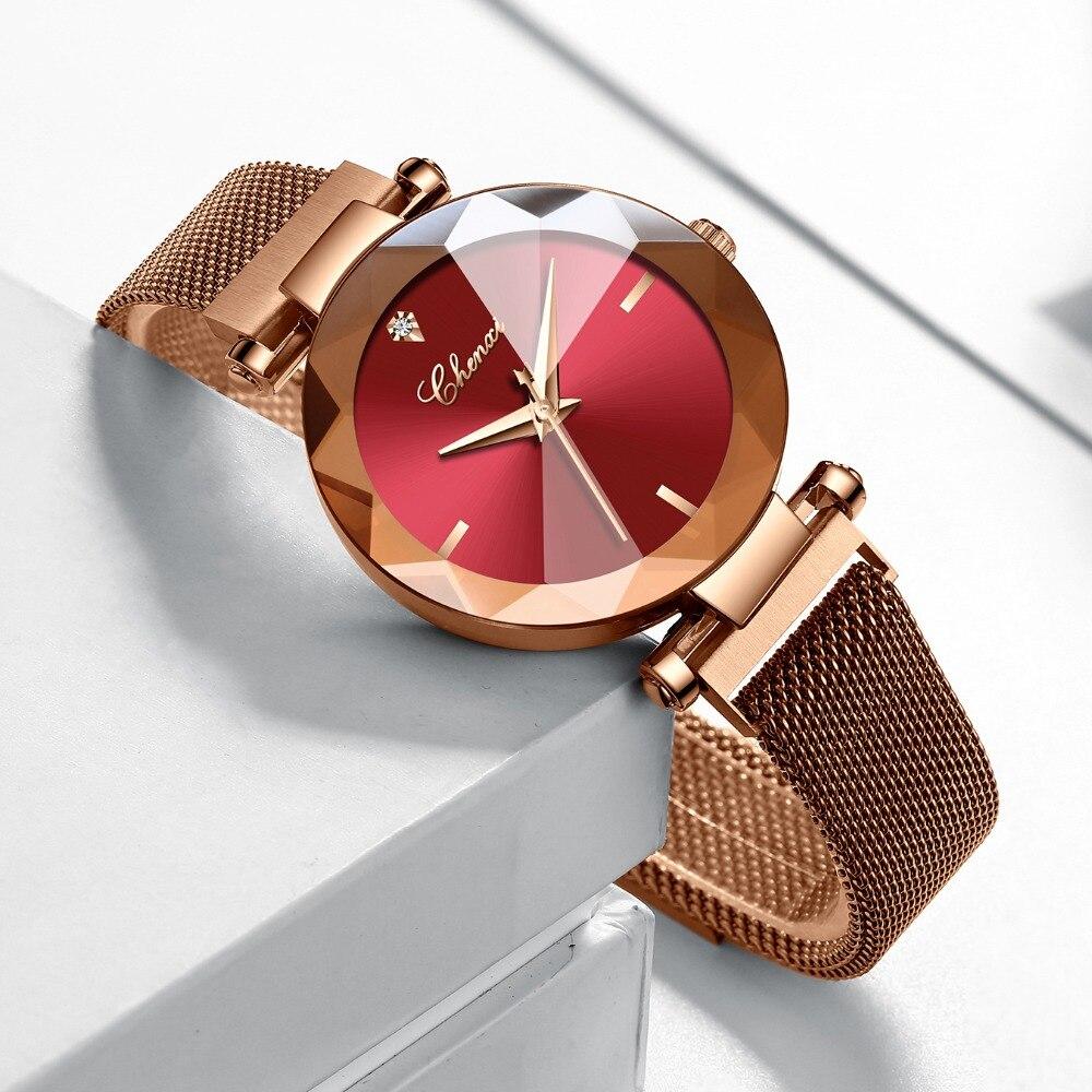 Image 3 - CHENXI Fashion 4 Colors Gem Cut Geometry Crystal Luxury Ladies Quartz Watches Womens Dress Watch Women Clock zegarek damskiWomens Watches   -