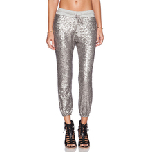 Hip Hop Capris Flare Straight Women Pants Covered Shiny Silver Sequins Drawstring Waist Pant