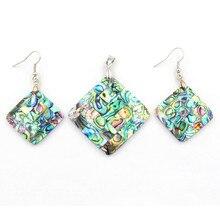 Jewelry Set Natural Abalone Shell Drop Earrings Pendant Pendulum Rhombus Rectangle Accessories Fashion Women 10Set