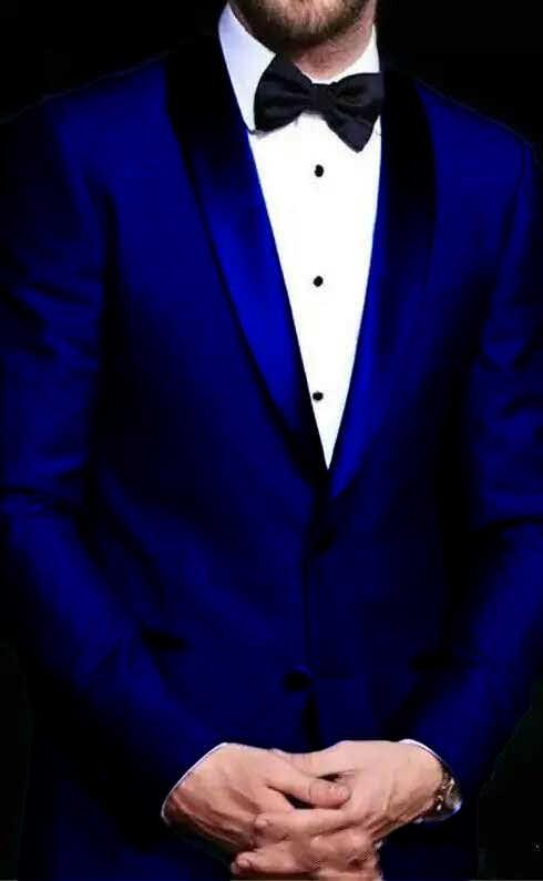 2019 上品なカスタムメイドブルーメンズ結婚式スーツ二枚スリムフィット花婿の付添人タキシード格安ウエディングスーツ (ジャケット + パンツ) 衣装オム
