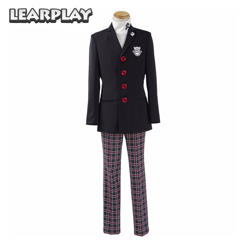 Persona 5 Protagonist Cosplay Costume high School Uniform Men Party Suits Halloween Outfit Coat+Pants+Shirt Full Set