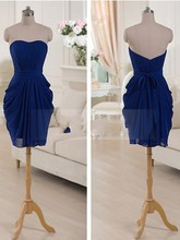 2016 New Cheap Short Bridesmaid Dresses Royal Blue Sweetheart Chiffon Short Hot Sale