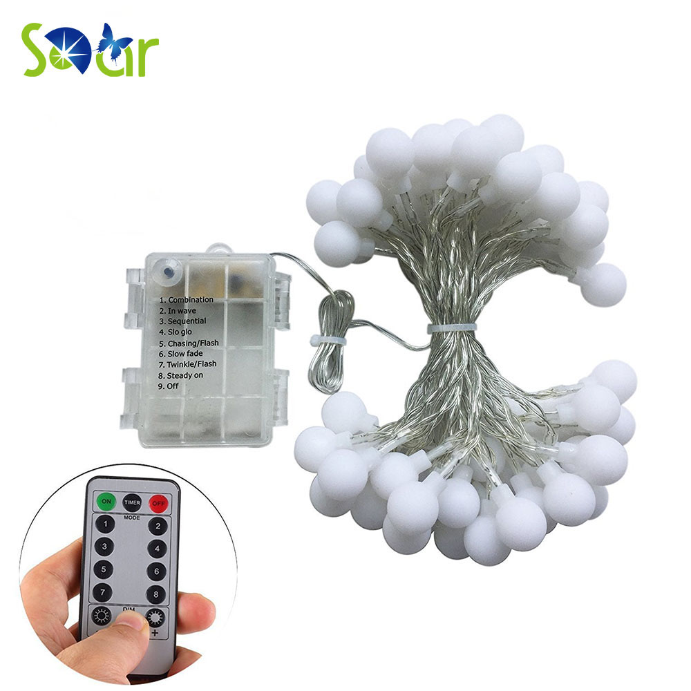 Remote Timer Waterproof 5M 50 LED Outdoor Globe String Lights 8 Modes Battery Operated Frosted White