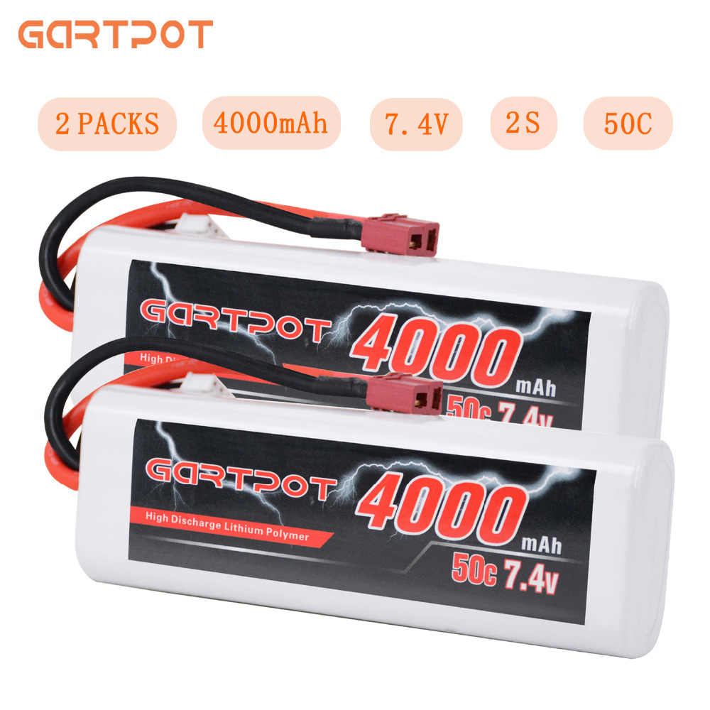 2Units GARTPOT Lipo Battery 4000mAh 7.4V RC Car Battery 2S Lipo Battery RC 50C Lipo 7.4V with Deans Plug for RC Truck Traxxas