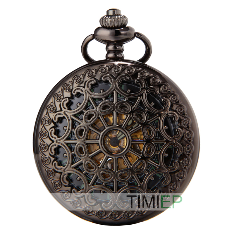SEWOR Vintage Black Mesh Pocket Watch Luminous Case Automatic Mechanical Self Wind