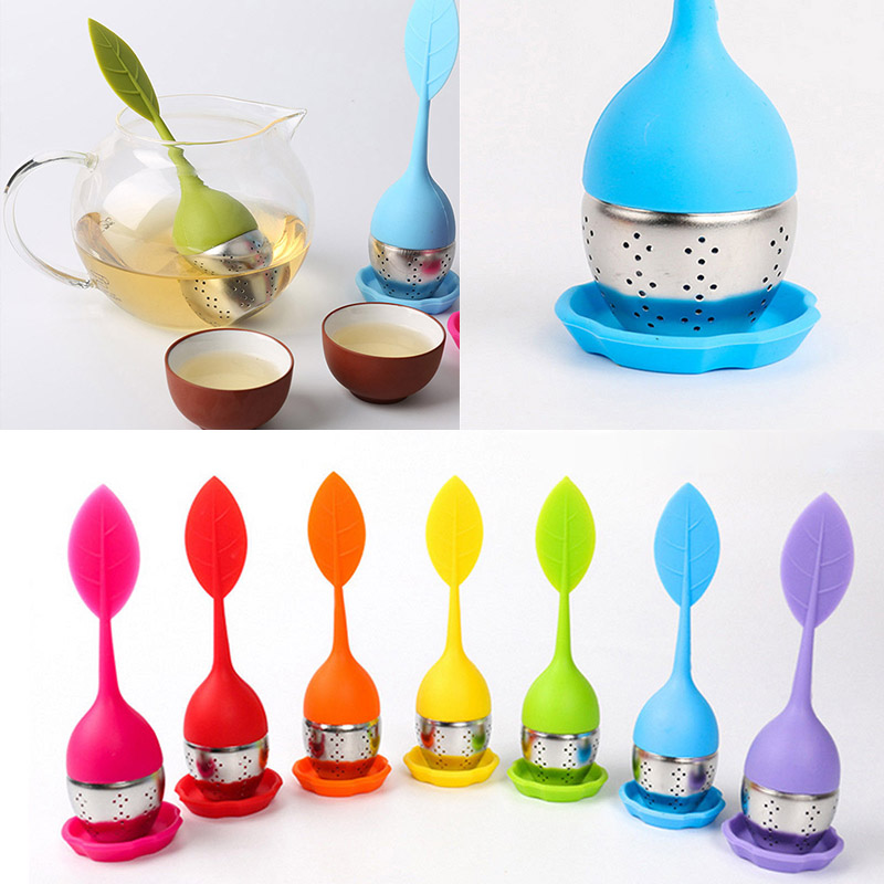 Tea Infuser Strainer Silicone Filter Leaf Shape Handle Diffuser Non-toxic Stainless Steel HG99