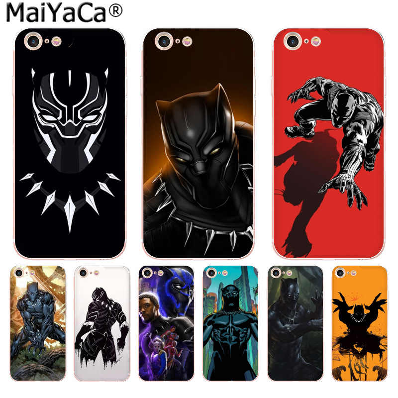 size 40 93cd3 f4e7e MaiYaCa Black Panther Marvel Comics Luxury fashion cell phone case for  iPhone 8 7 6 6S Plus X 10 5 5S SE XR XS XS MAX cover