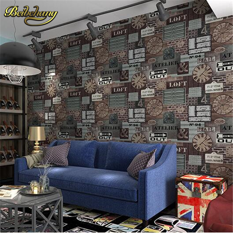 beibehang Industrial retro style wallpaper England nostalgic brick pattern background wallpaper the living room sofa and coffee junran america style vintage nostalgic wood grain photo pictures wallpaper in special words digit wallpaper for living room