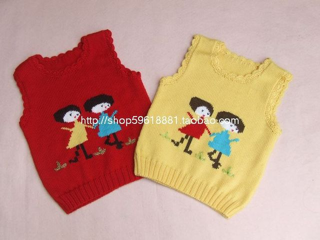 56f43c186 New Hand Knitted Baby Boy Pullover Wool Sweater Vest Two girls Size ...