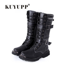 Casual Mens Motorcycle Boots Botas Hombre 2016 Fashion Lace Up Knee High Boots Round Toe Mens Boots Autumn Winter Shoes Men F161