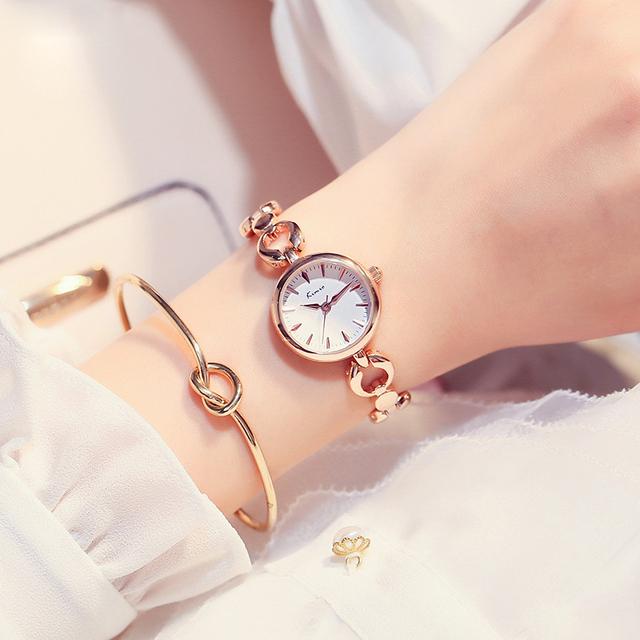 KIMIO Brand Ladies Dress Watches Luxury Stainless Steel Quartz Watch Hollow Love Heart Bracelet Watch Women Relogio Feminino New