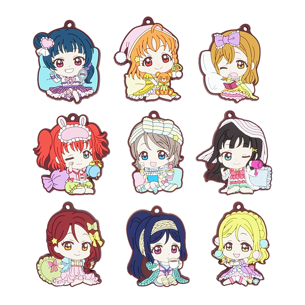 Love Live Sunshine Aqours Anime Yoshiko Chika Hanamaru Ruby You Dia Riko Kanan Mari Pajamas Party Rubber Keychain фонарь maglite 3d мокрый асфальт 31 3 см в блистере 947200
