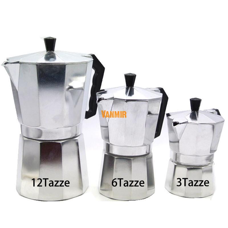 Máquina de espresso 3 tazas de aluminio