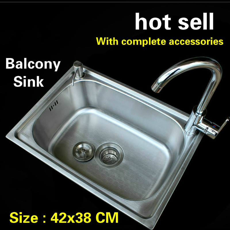 Free shipping Hot sell 304 stainless steel mini balcony kitchen sink ordinary small single slot 42x38 CM